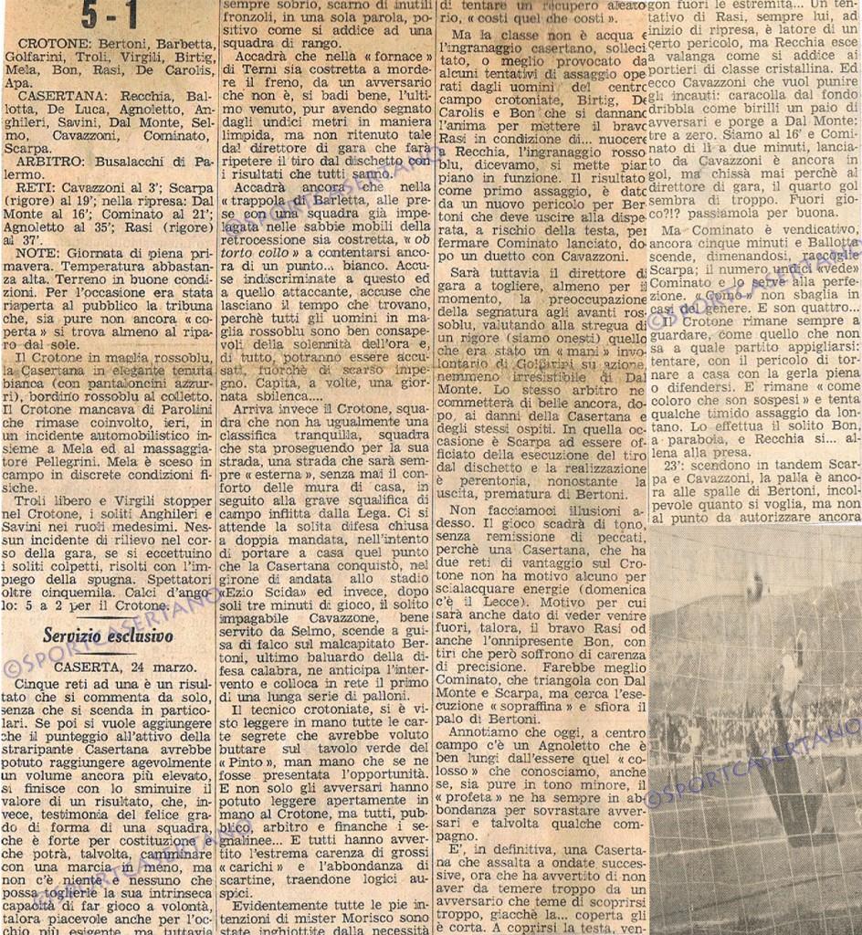 Casertana-Crotone del '66 (Archivio storico Pasquale Fiorillo)