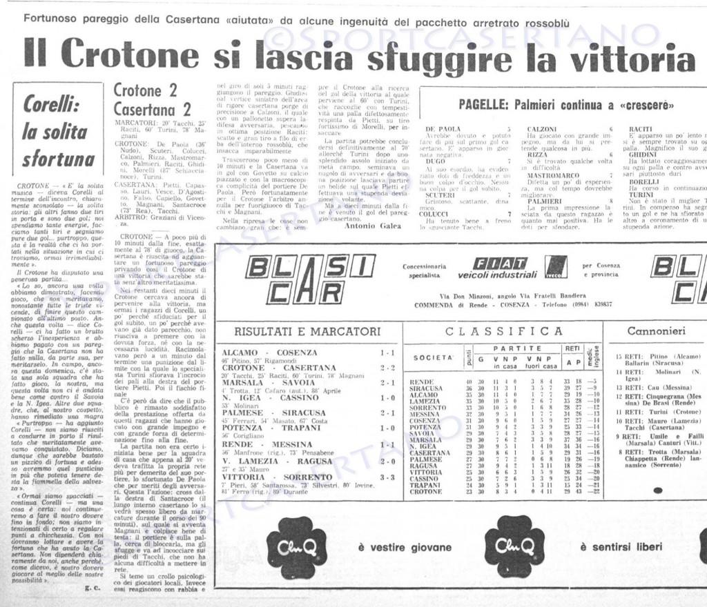 La cronaca di Crotone-Casertana del '79