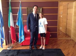 Sofia De Luca con il Presidente della Provincia di Caserta