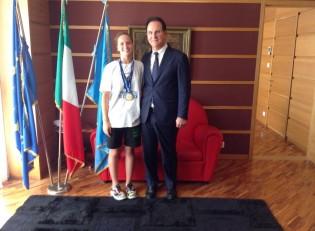 Giusymaria Lamberti con il Presidente della Provincia Angelo Di Costanzo.