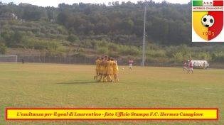 L'esultanza dell'Hermes Casagiove per il goal di Laurentino (foto Ufficio Stampa F.C. Hermes Casagiove)